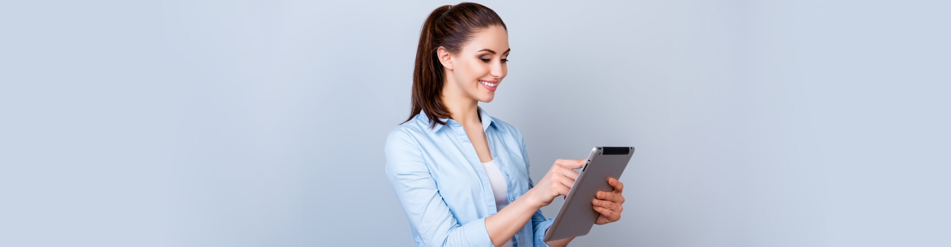 a pretty woman on a tablet